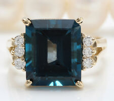 5.20 CTW Natural London Blue Topaz and Diamonds in 14K Solid Yellow Gold Ring