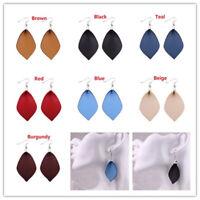 Fashion Leather Leaf Earrings for Women Leaves Leather Statement Drop Earrings