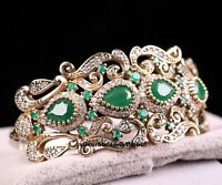 Turkish Jewelry Handmade 925 Sterling Silver Green Emerald Bracelet Bangle Cuff