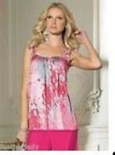 TOGETHER PINK PRINT LOOSE FIT SATIN PEARL DETAILSUN TOP SIZE  12 & 14 CLEARANCE
