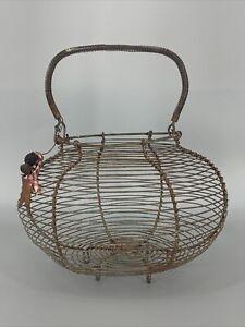Vtg Antique Primitive Wire & Coil Footed Egg Basket Estate Find Rustic Farm