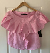 ZARA BABY PINK POPLIN FRILL SUMMER TOP S SMALL NEW