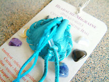HEADACHE MIGRAINE CRYSTAL MEDICINE BAG Pocket Size Deer Pouch + Reiki Gemstones