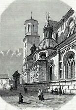 Antique print Cathedral of Sts. Stanisław and Vaclav Wawel Krakow Kraków Poland