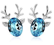 Luxury Deer Design Silver Ocean Blue Stud Earrings Great as Christmas Gift E536