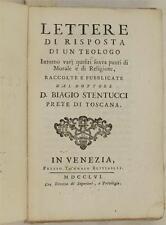 BIAGIO STENTUCCI LETTERE DI RISPOSTA TEOLOGO 1756 VESTITI TEATRO CRIMINALI 1756