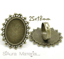 1x Einstellbarer Ringrohling Bronze für 18 x 25 mm Cabochon Kamee diy basteln