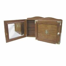 Key Box in Marritm Style with Brass Inlay and Mirror, Fine Wood