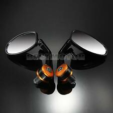 "2x 7/8"" UNIVERSAL MOTORBIKE MOTORCYCLE HANDLE BAR END REARVIEW SIDE MIRRORS GOLD"