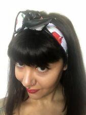 Bandeau foulard cheveux rigide cordon maléable blanc à cerises simili cuir noir