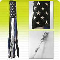 """60"""" WINDSOCK THIN BLUE LINE USA Flag American Police Live Matters Embroidered b"""