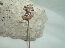Lapel Stickpin Pin In Gift Box Vintage Enamel Gold Marines Flag Mens