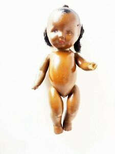 """ANTIQUE 10"""" JOINTED COMPOSITION AFRICAN AMERICAN DOLL"""