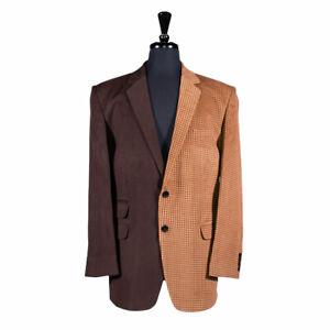 Men's Blazer Brown Check Corduroy Handmade Jacket Wedding Sport Coat Italy 44R
