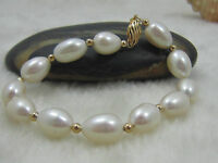 """PERFECT AAA NATURAL SOUTH SEA 10-12 MM WHITE PEARL BRACELET 14K GOLD 7.5-8"""""""
