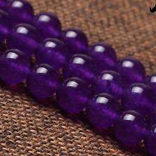 "Purple Malay Jade 6mm Smooth Round Quartz Gemstone Beads 15""AAA"