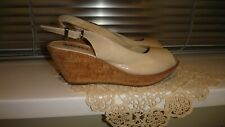 ADESSO CREAM PATENT WEDGE SHOES QVC, UK 6, EU 39