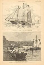 Fishing, In Search Of Bait On The Newfoundland Coast, Vintage 1887 Antique Print