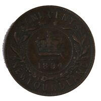 Raw 1894 Newfoundland Canada 1C Uncertified Ungraded Copper Large Cent