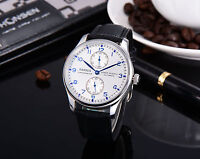 43mm Parnis Power Reserve Mechanical Automatic Mens Watch Blue Marks  Leather
