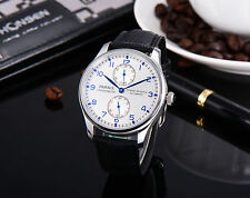 43mm Parnis Power Reserve Blue Marks Mechanical Automatic Men Watch  Leather