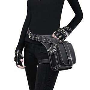 Steampunk Vintage Rock Punk Waist Leg Hip Bum Bag Leather Fanny Pack Women Pouch