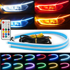 2X RGB 30CM Slim Sequential Flexible LED DRL Turn Signal Strip For Headlight