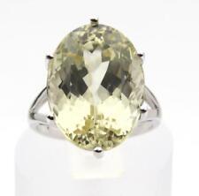 12.00ct 18x13 Yellow Kunzite Spodumene 9ct White Gold Ring Size N Gems TV