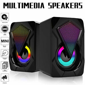 3.5mm RGB LED Mini USB Wired Computer Speakers Stereo Bass For PC Laptop Desktop