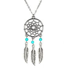 Web Dream Catcher, turquoise Beads, Feathers, Pendant Necklace, Gift Friends