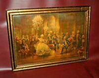 """Georg Schobel 28"""" Gilt Framed Giclee Print - """"French Court Scene Dance Recital"""""""