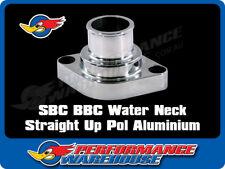 SBC BBC POLISHED ALUMINIUM STRAIGHT UP WATER NECK T/STAT HOUSING 327 350 454 396