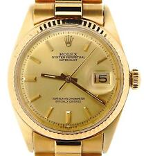 Rolex Solid 18KT 18K Yellow Gold Datejust w/Gold Plated President Style Bracelet