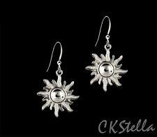 *CKstella*  Joyful Sun Silver Pewter Dangel .925 Sterling Silver Earrings