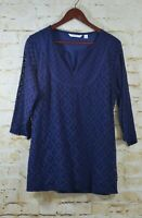 Isaac Mizrahi Live Womens Sz L Blue 3/4 Sleeve Mixed Tunic Top V Neck