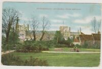 Cambridgeshire postcard - Peterborough Cathedral from Gardens - P/U 1913 (A118)