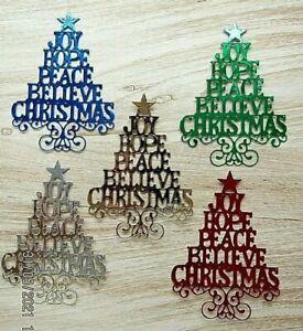 New: 10 x Mirri Sentiment Christmas Tree Die Cuts