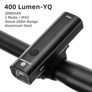 ROCKBROS Bike Headlight 400LM Rainproof  USB Rechargeable Cycling Front Light