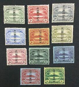 MOMEN: SOLOMON ISLANDS SG #8s-17s 1908-11 SPECIMEN MINT OG H LOT #191444-657