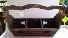 Holzkorb Dekoration Holzkiste mit Griff Pflanzbox Aufbewahrung Shabby Chic Neu
