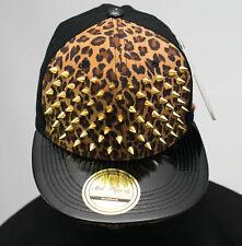Bling stud snapback caps, brown leopard velvet flat peak hat premium gold hiphop