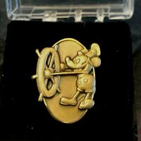 Vintage Mickey Mouse Steamboat Willie Cast 1 Year Pin Lapel Tie Clasp Bronze