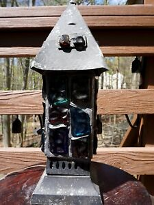 Vintage Multi Color Chunk Glass Lamp