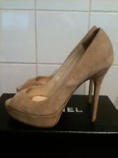 £595 Jimmy Choo Beige Suede Platform Bridal Party Shoes Heels 37.5 uk 4.5 BNWOB