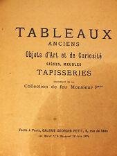 Ancien Gros Catalogue de Vente - Collection Privée Tableaux, meubles 1924