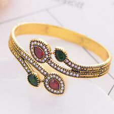 Women Vintage Crystal Turkish Bracelet Red Water Drop Resin Cuff Bangles Jewelry