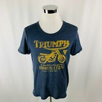 Triumph by Lucky Brand Gray Graphic Blue T-Shirt Mens Large L