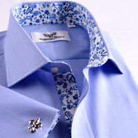 New Arrival Light Blue Checkered Business Shirt Easy Iron Boss Mens Formal
