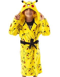 Pokemon Dressing Gown Boys Girls Pikachu Kids Pocket Bathrobe