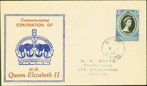 Sarawak 1953 Coronation 10c SG187 1st Day Cover to Stourbridge Fine & Attractive